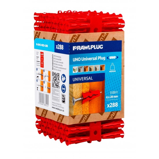 RawlPlug Uno Wall Fixings 6x28mm - Pack 288