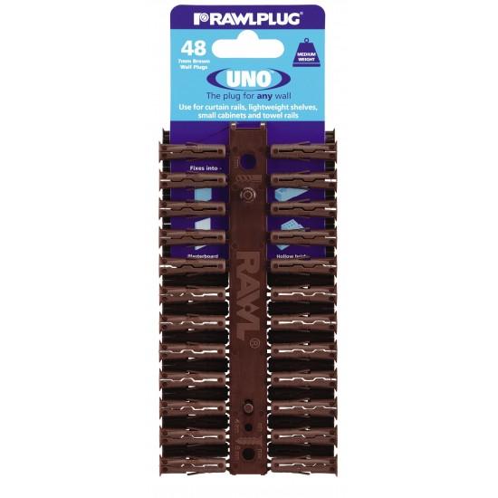 RawlPlug Uno Wall Fixings 7x30mm - Pack 48