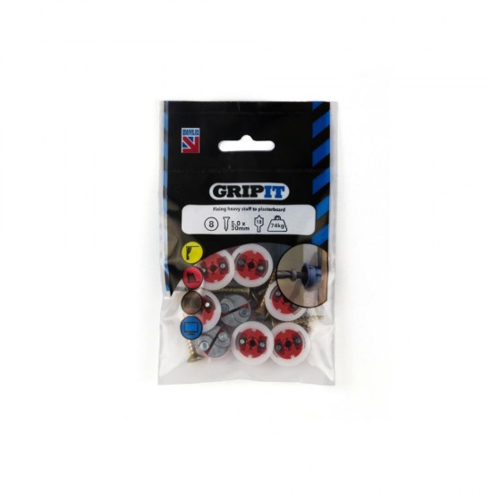 GripIt 182-255 18mm Red Plasterboard Fixings - Pack of 8