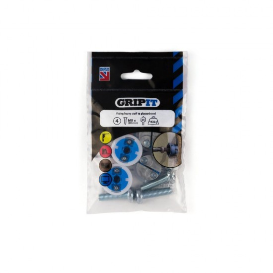 GripIt 252-304 25mm Blue Plasterboard Fixings - Pack of 4